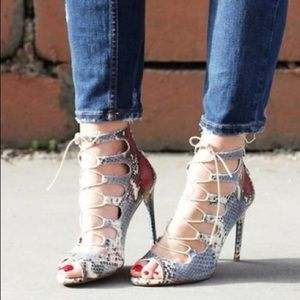 Zara snakeskin Lace up heels Size 36/6